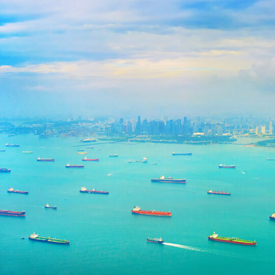 cargo tanker ships in Singapore harbor