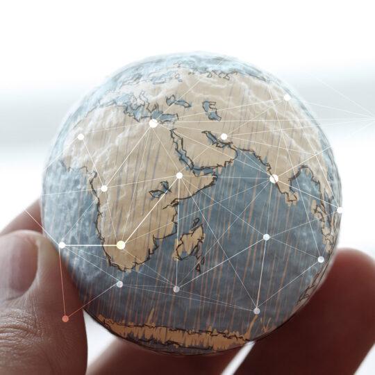 hand holding a globe network